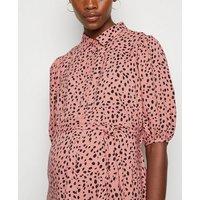 Maternity Pink Animal Print Midi Shirt Dress New Look