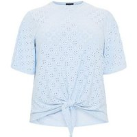 Curves Pale Blue Broderie Tie Front T-Shirt New Look