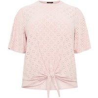 Curves Pink Broderie Tie Front T-Shirt New Look