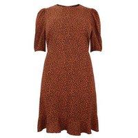 Curves Rust Leopard Print Frill Hem Dress New Look