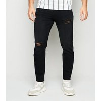 Men's Black Ripped Tapered Jeans New Look
