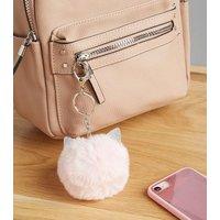 Pink Glitter Cat Ear Pom Pom Keyring New Look