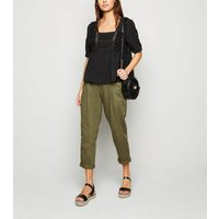 Black Square Neck Crochet Lace Top New Look