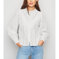 White Spot Lace Puff Sleeve Blouse New Look