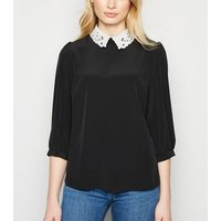 Black Embroidered Contrast Collar Blouse New Look