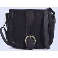 Black Suedette Buckle Strap Saddle Bag New Look