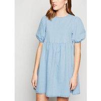 Blue Denim Puff Sleeve Smock Dress New Look