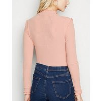 Pink Ribbed Frill Long Sleeve Top New Look