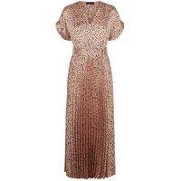 Light Brown Spot Satin Pleated Midi Dress New Look