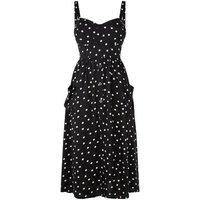 Petite Black Spot Bustier Midi Dress New Look