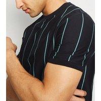 Black Vertical Stripe Crew T-Shirt New Look