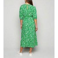 Petite Green Floral Puff Sleeve Midi Dress New Look