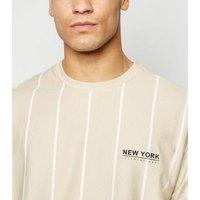 Stone Stripe New York Slogan T-Shirt New Look