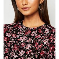 Petite Black Floral Poplin Puff Sleeve Top New Look