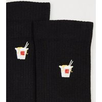 Black Embroidered Noodles Socks New Look