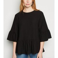 Black Textured Flutter Sleeve Peplum Top New Look