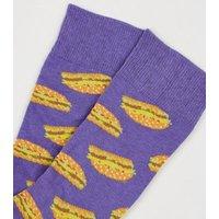 Men's Purple Burger Socks New Look