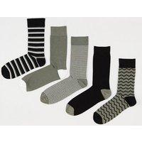 5 Pack Khaki Pattern Socks New Look