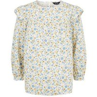 White Floral Frill Poplin Blouse New Look