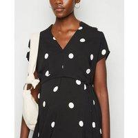 Maternity Black Spot Midi Tunic Dress New Look