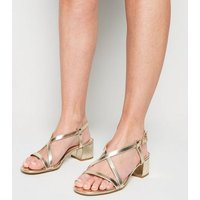 Wide Fit Gold Strappy Flared Block Heel Sandals New Look