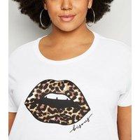 Curves White Leopard Print Lips Slogan T-Shirt New Look