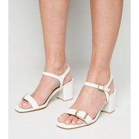 Wide Fit White Faux Croc Buckle Heeled Sandals New Look Vegan
