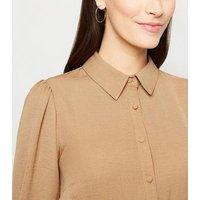 Camel Collared Long Sleeve Shirt Dress New Look