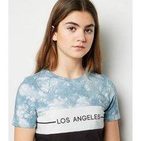 Girls Blue Tie Dye LA Slogan T-Shirt New Look