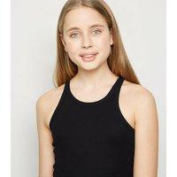 Girls Black Ribbed Racer Vest New Look