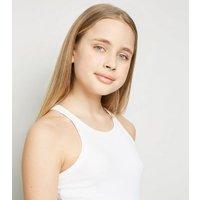 Girls White Ribbed Racer Vest New Look
