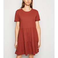 Rust Short Sleeve Mini Smock Dress New Look