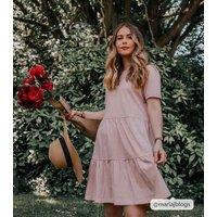 Pink Short Sleeve Mini Smock Dress New Look