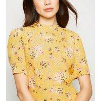Yellow Floral Short Sleeve Tea Dress New Look