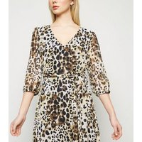 Brown Leopard Print Chiffon Tie Waist Midi Dress New Look