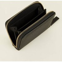 Black Faux Snake Zip Around Card Holder New Look
