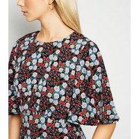 AX Paris Black Floral Flutter Sleeve Dress New Look