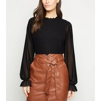 Black Fine Knit Spot Mesh Sleeve Top New Look