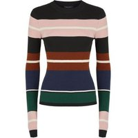 Cameo Rose Black Ribbed Stripe Jumper New Look