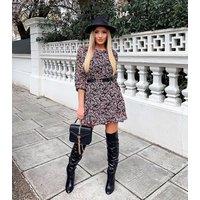 AX Paris Black Floral Chiffon Skater Dress New Look