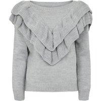 Cameo Rose Grey Frill Trim Knit Jumper New Look