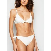 Off White Crinkle Tie Front Triangle Bikini Top New Look