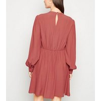 Mid Pink High Neck Puff Sleeve Dress New Look