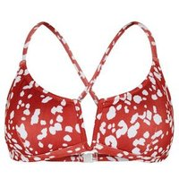 Rust Spot V Neck Crop Bikini Top New Look