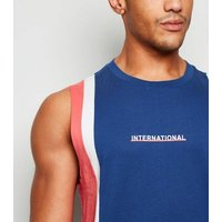 Navy Colour Block International Slogan Vest New Look