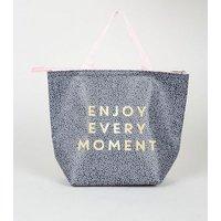 Navy Spot Enjoy Every Moment Slogan Lunch Bag New Look