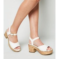 Wide Fit White Leather-Look Cork Block Heel Sandals New Look
