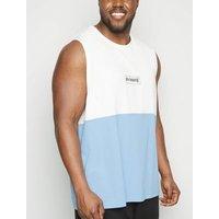 Plus Size Bright Blue Colour Block Slogan Tank Top New Look