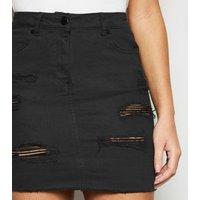 Black Extreme Rip Denim Mini Skirt New Look