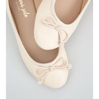 Off White Leather-Look Ballet Pumps New Look Vegan